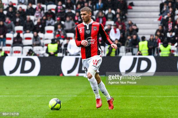 Maxime Le Marchand of Nice during the Ligue 1 match between OGC Nice and Paris Saint Germain at Allianz Riviera on March 18 2018 in Nice