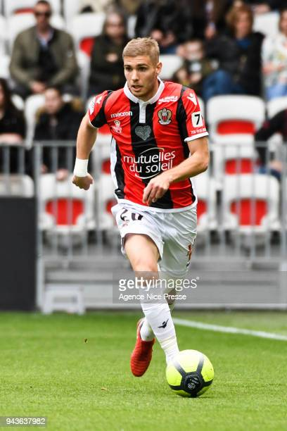 Maxime Le Marchand of Nice during the Ligue 1 match between OGC Nice and Stade Rennes at Allianz Riviera on April 8 2018 in Nice
