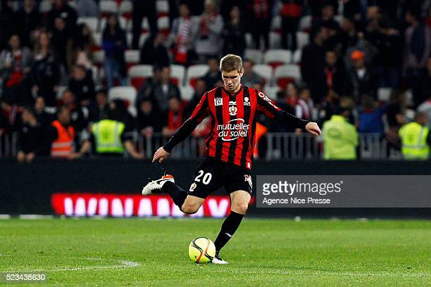 Maxime Le Marchand of OGC Nice during the French Ligue 1 between Nice and Reims at Stade Municipal du Ray on April 22, 2016 in Nice, France.