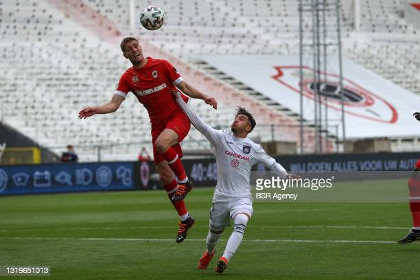 Maxime Le Marchand of Royal Antwerp FC, Anouar Ait El Hadj of RSC Anderlecht during the Belgian Jupiler Pro League match between Royal Antwerp FC and...
