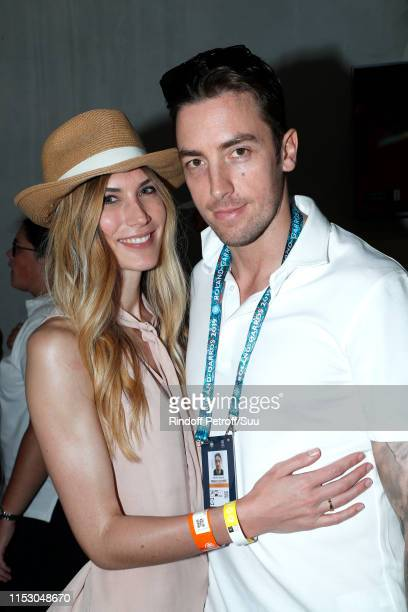 Maxime Leconte and his companion Solene attend the 2019 French Tennis Open - Day Seven at Roland Garros on June 01, 2019 in Paris, France.