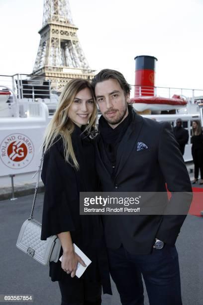 "Maxime Leconte and his partner Solene attend ""Trophee des Legendes"" Dinner at Le Paquebot on June 7, 2017 in Paris, France."