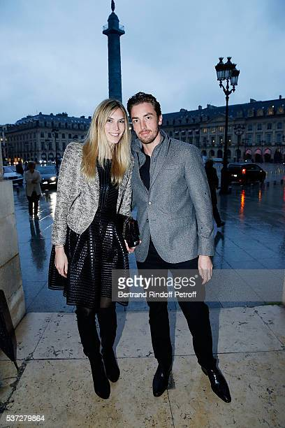 Maxime Leconte and his partner Solne Froment attend the Trophy of the Legends Perrier Party at Pavillon Vendome on June 1 2016 in Paris France