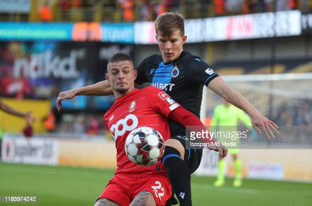 Maxime Lestienne of Standard battles for the ball with Eduard Sobol of Club Brugge during the Jupiler Pro League match between Club Brugge KV and...