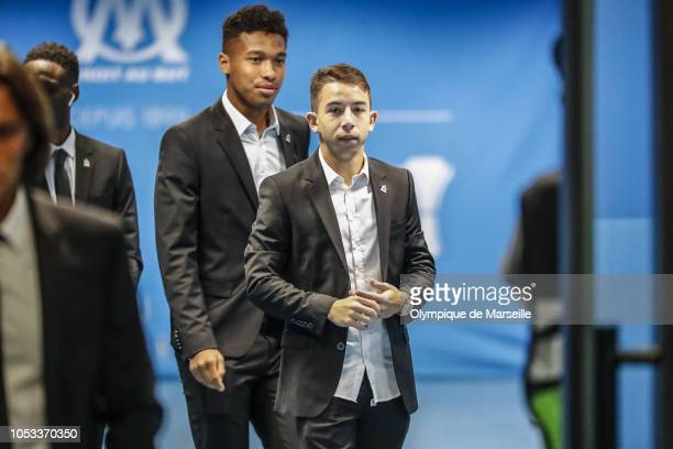 Maxime Lopez and Boubacar Kamara of Olympique de Marseille arrive to the stadium prior to the UEFA Europa League Group H match between Olympique de...
