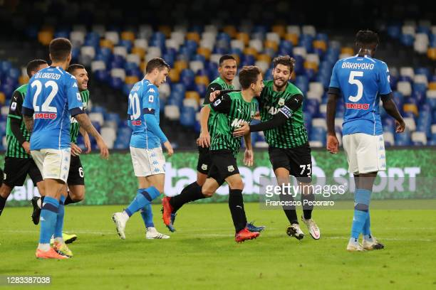 Maxime Lopez and Manuel Locatelli of US Sassuolo celebrate the 0-2 goal scored by Maxime Lopez during the Serie A match between SSC Napoli and US...