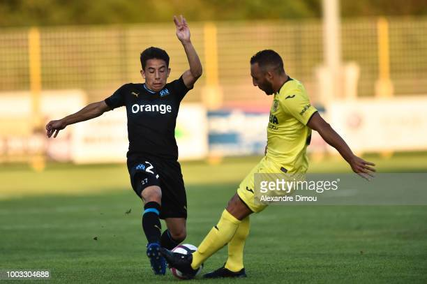 Maxime Lopez of Marseille and Santiago Cazorla of Villarreal during the friendly match between Marseille and Villarreal on July 21 2018 in Le Pontet...