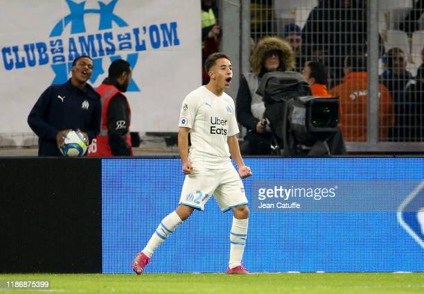 Maxime Lopez of Marseille celebrates a goal during the Ligue 1 match between Olympique de Marseille and Olympique Lyonnais at Stade Velodrome on...