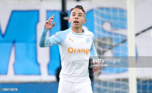 Maxime Lopez of Marseille celebrates his goal during the french Ligue 1 match between Olympique de Marseille and AS Monaco at Stade Velodrome on...