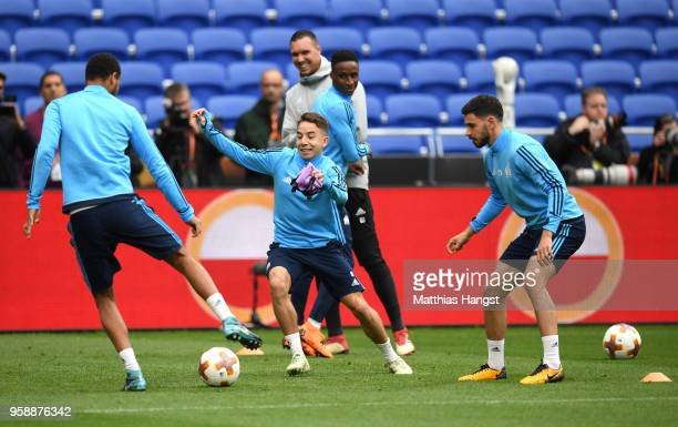 Maxime Lopez of Marseille in action during an Olympique de Marseille training session ahead of the the UEFA Europa League Final against Club Atletico...