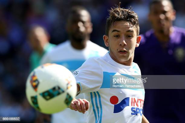 Maxime Lopez of Marseille in action during the French Ligue 1 match between Toulouse FC and Olympique de Marseille at Stadium Municipal on April 8...