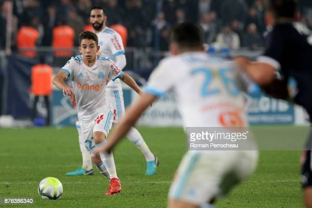 Maxime Lopez of Marseille in action during the Ligue 1 match between FC Girondins de Bordeaux and Olympique Marseille at Stade Matmut Atlantique on...