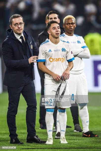 Maxime Lopez of Marseille looks dejected in defeat after the UEFA Europa League Final between Olympique de Marseille and Club Atletico de Madrid at...