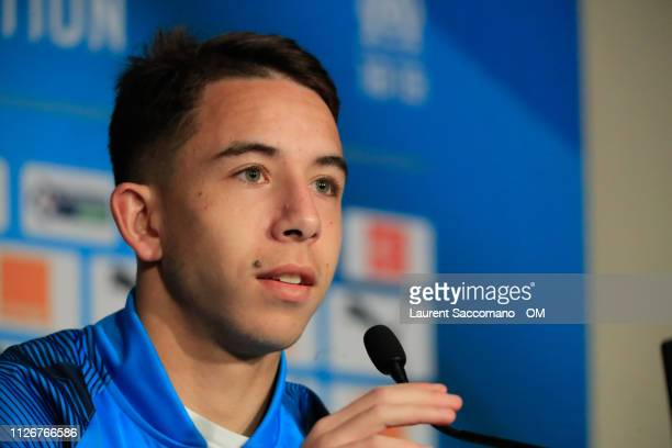 Maxime Lopez of Marseille speaks to the media during a press conference on at centre Centre RobertLouis Dreyfus on February 22 2019 in Marseille...