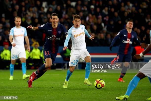 Maxime Lopez of Olympique de Marseille Angel Di Maria of Paris Saint Germain during the Ligue 1 match between Paris Saint Germain and Marseille at...