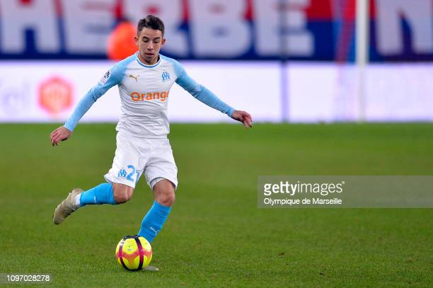 Maxime Lopez of Olympique de Marseille runs with the ball during the Ligue 1 match between SM Caen and Olympique de Marseille at Stade Michel...