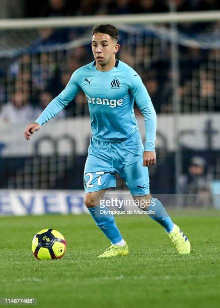 Maxime Lopez of Olympique de Marseille runs with the ball during the Ligue 1 match between RC Strasbourg and Olympique de Marseille at La Meinau...