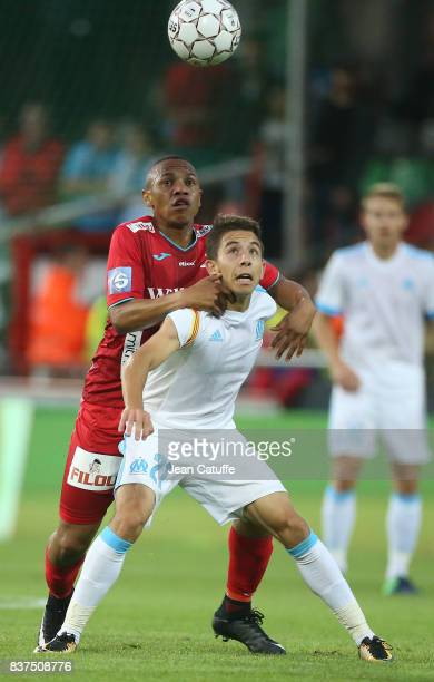 Maxime Lopez of OM and Andile Jali of KV Oostende during the UEFA Europa League third qualifying round second leg match between KV Oostende and...