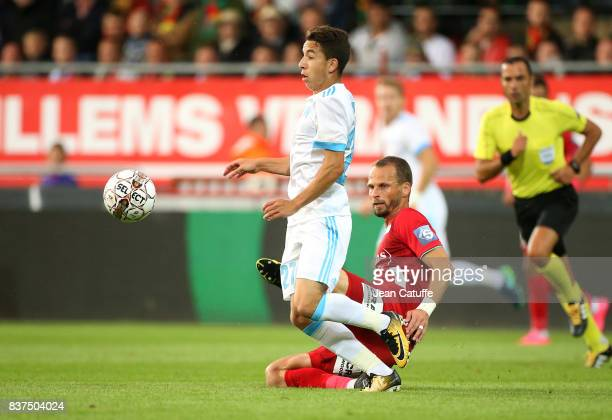 Maxime Lopez of OM and David Rozehnal of KV Oostende during the UEFA Europa League third qualifying round second leg match between KV Oostende and...