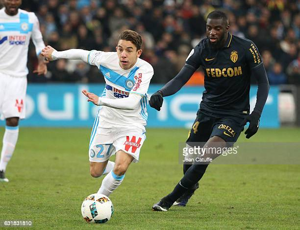 Maxime Lopez of OM and Tiemoue Bakayoko of Monaco in action during the French Ligue 1 match between Olympique de Marseille and AS Monaco at Stade...