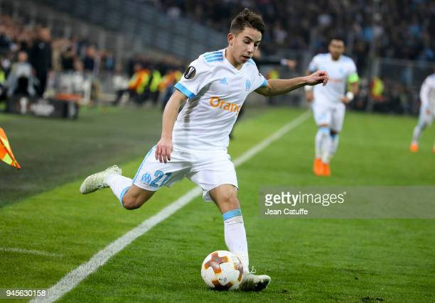 Maxime Lopez of OM during the UEFA Europa League quarter final leg two match between Olympique de Marseille and RB Leipzig at Velodrome stadium on...