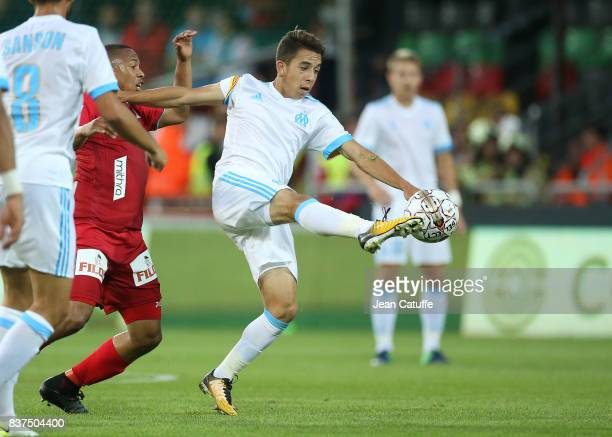 Maxime Lopez of OM during the UEFA Europa League third qualifying round second leg match between KV Oostende and Olympique de Marseille at Versluys...