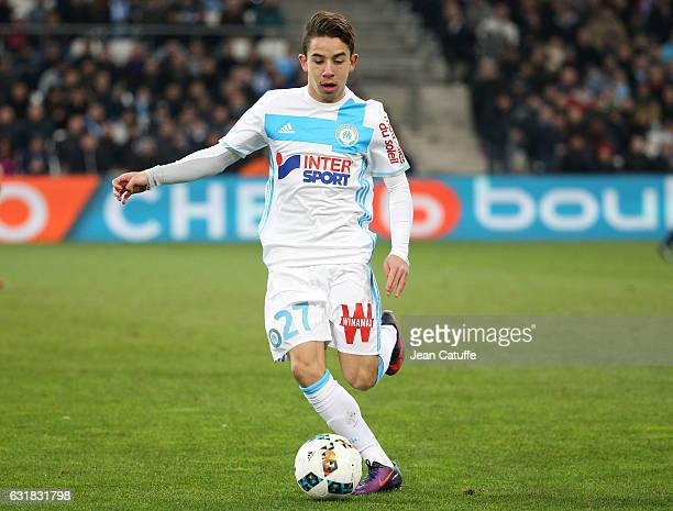 Maxime Lopez of OM in action during the French Ligue 1 match between Olympique de Marseille and AS Monaco at Stade Velodrome on January 15 2017 in...