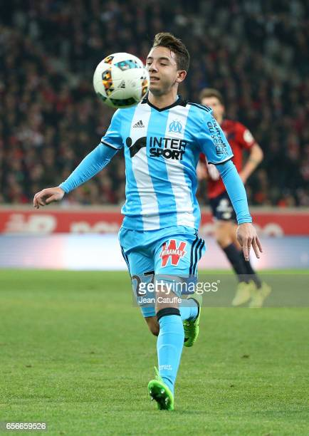 Maxime Lopez of OM in action during the French Ligue 1 match between Lille OSC and Olympique de Marseille at Stade PierreMauroy on March 17 2017 in...