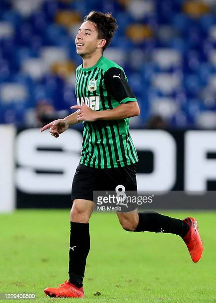 Maxime Lopez of US Sassuolo celebrates after scoring his goal ,during the Serie A match between SSC Napoli and US Sassuolo at Stadio San Paolo on...