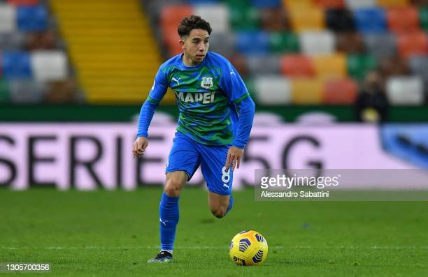 Maxime Lopez of US Sassuolo in action during the Serie A match between Udinese Calcio and US Sassuolo at Dacia Arena on March 06, 2021 in Udine,...
