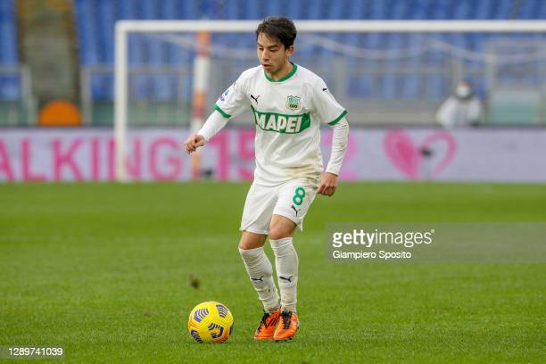 Maxime Lopez of US Sassuolo in action during the Serie A match between AS Roma and US Sassuolo at Stadio Olimpico on December 06, 2020 in Rome,...