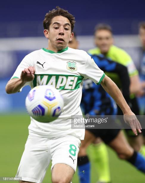 Maxime Lopez of US Sassuolo in action during the Serie A match between FC Internazionale and US Sassuolo at Stadio Giuseppe Meazza on April 07, 2021...