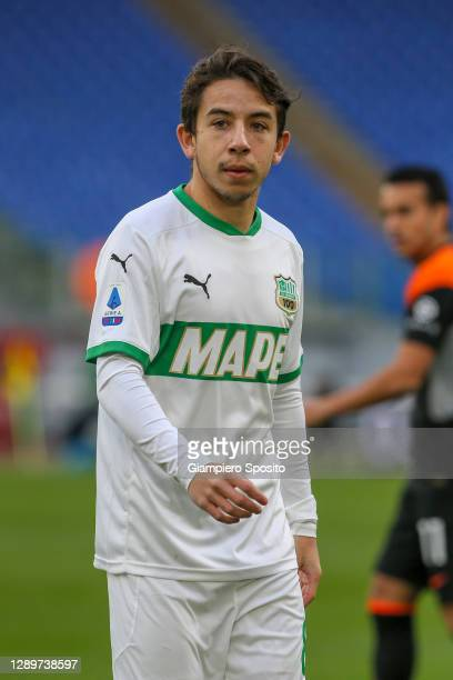Maxime Lopez of US Sassuolo looks on during the Serie A match between AS Roma and US Sassuolo at Stadio Olimpico on December 06, 2020 in Rome, Italy....