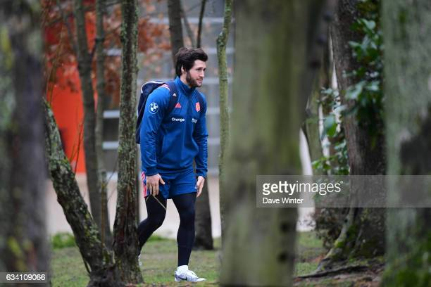 Maxime Machenaud of France arrives for the training session of the France rugby team at Centre National de Rugby on February 7 2017 in Marcoussis...