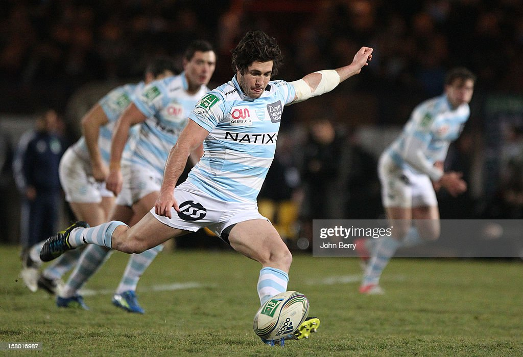 Maxime Machenaud of Racing Metro 92 in action during the European Cup match between Racing Metro 92 and Edinburgh Rugby at the Stade Yves du Manoir on December 8, 2012 in Colombes nearby Paris, France.