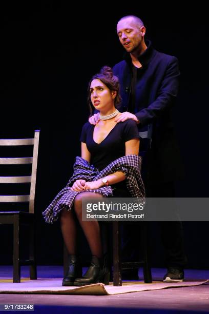 Maxime Martigane and Charlotte Landoy perform during L'Entree des Artistes Theater School by Olivier Belmondo at Theatre Des Mathurins on June 11...