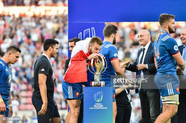 Maxime Marty and Team of France celebrates the Title of World Champion U20 during the Final World Championship U20 match between England and France...