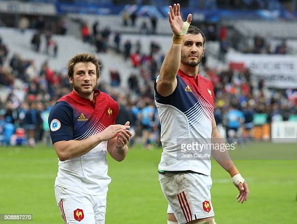 Maxime Medard and Yoann Maestri of France thank the supporters following the RBS 6 Nations match between France and Italy at Stade de France on...