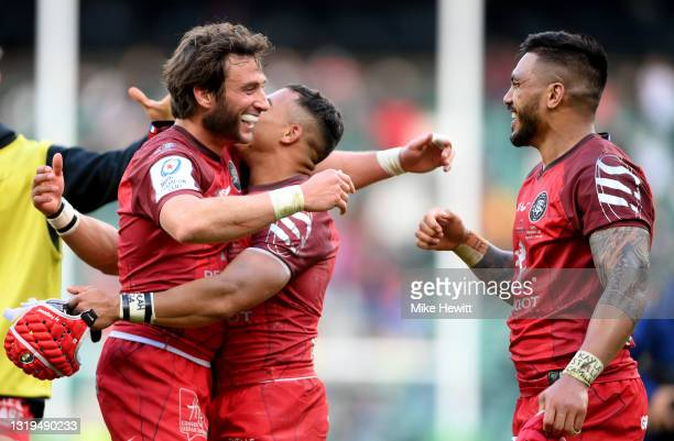 Maxime Medard, Cheslin Kolbe and Pita Ahki of Toulouse celebrate following the Heineken Champions Cup Final between La Rochelle and Toulouse at...