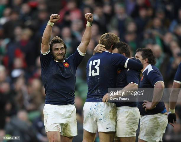 Maxime Medard of France celebrates after their victory during the RBS 6 Nations match between Ireland and France at the Aviva Stadium on February 13...