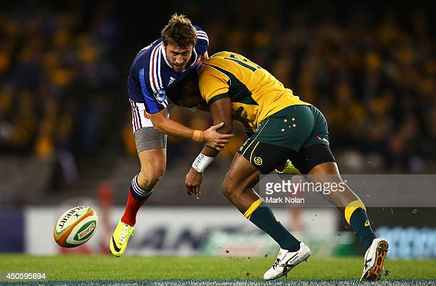Maxime Medard of France is tackled by Tevita Kuridrani of the Wallabiesduring the second International Test Match between the Australian Wallabies...