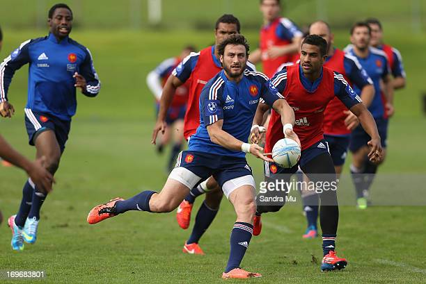 Maxime Medard of France looks to pass during a France rugby training session at North Harbour outside field on May 31 2013 in Auckland New Zealand