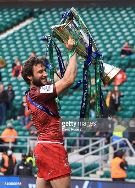 Maxime Medard of Toulouse celebrates after their victory during the Heineken Champions Cup Final match between La Rochelle and Toulouse at Twickenham...