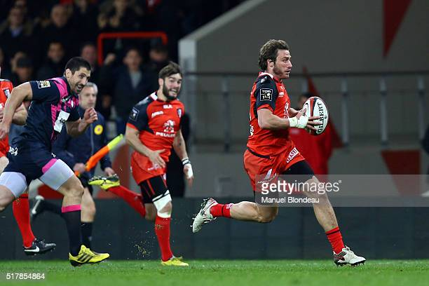 Maxime Medard of Toulouse during the French Top 14 rugby union match between Stade Toulousain v Stade Francais Paris at Stadium Municipal on March 27...