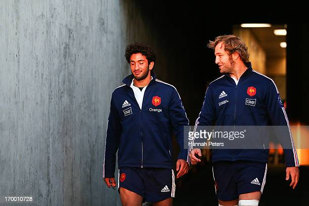 Maxime Mermoz and Antonie Claassen of France arrive for a France rugby training session at North Harbour Stadium on June 6 2013 in Auckland New...