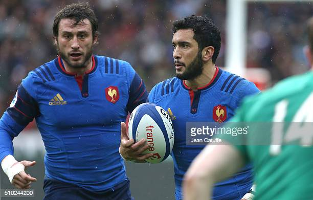 Maxime Mermoz and Maxime Medard of France in action during the RBS 6 Nations match between France and Ireland at Stade de France on February 13 2016...