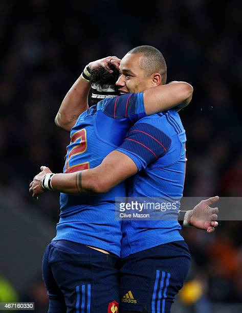 Maxime Mermoz of France celebrates with teammate Gael Fickou of France after scoring his team's third try during the RBS Six Nations match between...