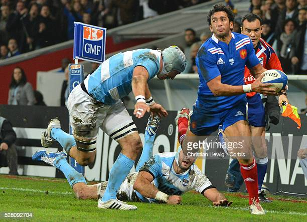 FRANCE Maxime Mermoz Villeneuved'Ascq France's during the rugby union test match France vs Argentina at Lille Grand Stade on November 17 2012 in...
