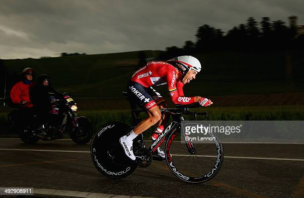 Maxime Monfort of Belgium and LottoBelisol in action during the twelfth stage of the 2014 Giro d'Italia a 42km Individual Time Trial stage between...