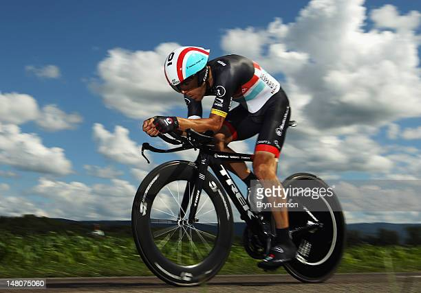 Maxime Monfort of Belgium and Radioshack-Nissan in action during stage nine of the 2012 Tour de France, a 41.5km individual time trial, from...
